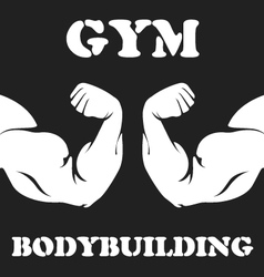 Gym and bodybuilding emblem with biceps vector