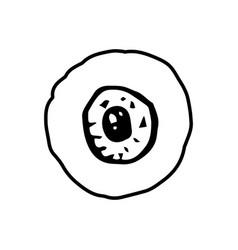 Halloween eye doodle element isolated vector