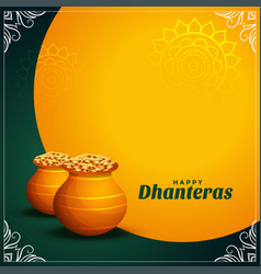 Happy dhanteras wishes card with golden coins pot vector