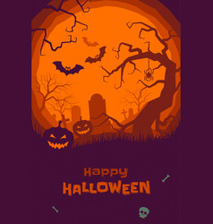 happy halloween greeting card pumpkin tombstone vector image