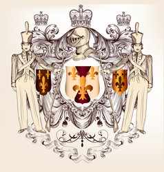 heraldic design with coat arms in vintage style vector image