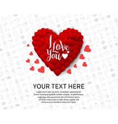 I love you with big red heart isolated on white vector