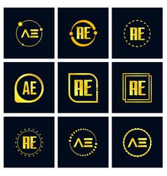 Initial letter ae logo set design vector