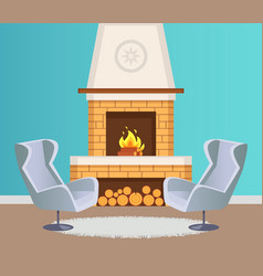 interior flat fireplace and armchairs vector image