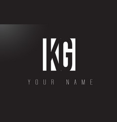 Kg letter logo with black and white negative vector