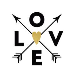 Love text arrows glitter heart graphic design vector
