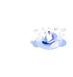 man sitting lotus pose using laptop guy vector image