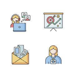 Marketing rgb color icons set vector