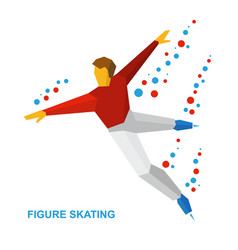 Mens single skating figure skater training vector