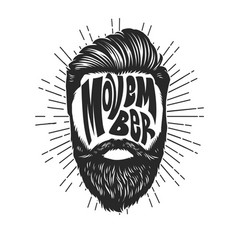movember vintage design with bearded man head vector image