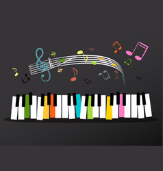 music keyboard with colorful keys and notes vector image