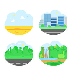 nature and city road and waterfall desert set vector image