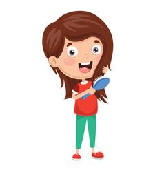 Of kid brushing hair vector