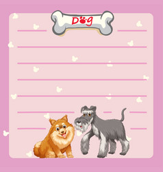 paper template with two cute dogs vector image