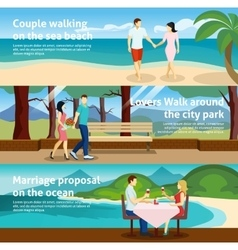 People fall in love banner set vector