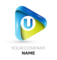 Realistic letter u logo colorful triangle vector