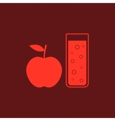 red apple and glass of juice vector image