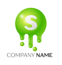 s letter splash green dots and bubbles letter vector image