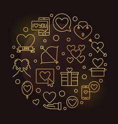 saint valentines day round golden linear vector image