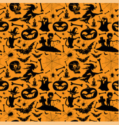 seamless pattern with black halloween elements vector image