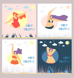 set body positive woman flat card template vector image
