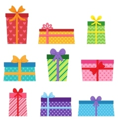 set colorful present boxes vector image