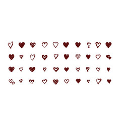Set icon hearts vector