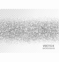 Sparkling glitter border isolated on white silver vector