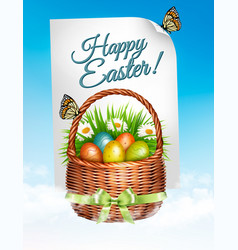 spring easter background easter eggs in basket vector image vector image