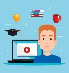 student using laptop electronic education vector image