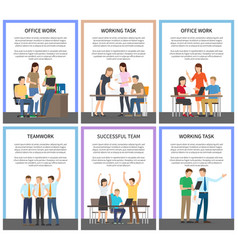 teamwork and working task vector image