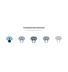 thanksgiving peacock icon in different style two vector image