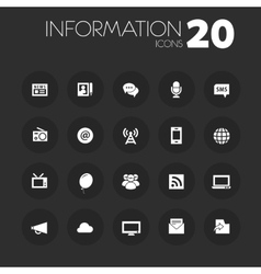 Thin information icons on dark gray vector
