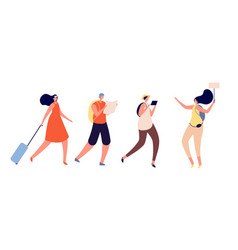 Tourists walking travel vacation person trip vector
