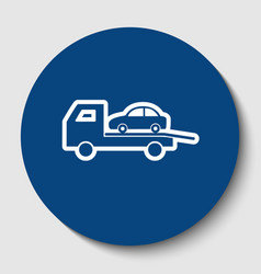 Tow car evacuation sign white contour vector