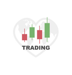 trading graph icon earth trading stock vector image