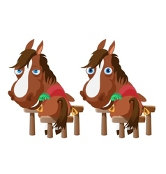 Two horses in stable stand back and turn around vector image