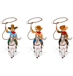Two old and one young cowboys vector image