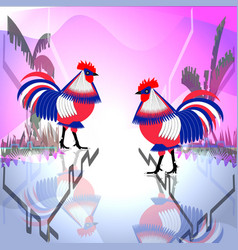 two tricolor chicken roosters look at each other vector image