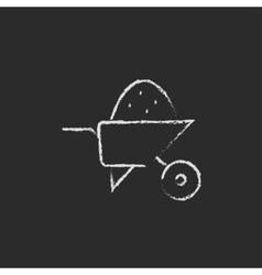 Wheelbarrow full of sand icon drawn in chalk vector