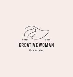 Woman logo icon line outline monoline vector