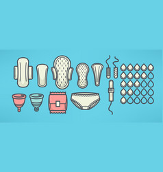 Women menstrual hygiene objects set line art vector