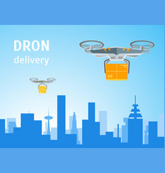 cartoon drone technology delivery service business vector image