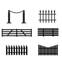 fence set icon on white background black fence vector image