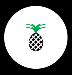 pineapple fruit simple black and green icon eps10 vector image