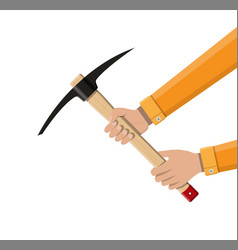 wooden pickaxe with iron tip in hand vector image vector image