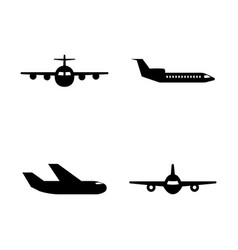 aircraft simple related icons vector image vector image