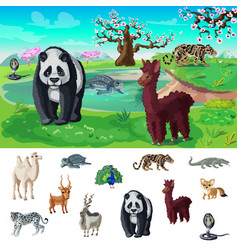 cartoon asian wildlife concept vector image