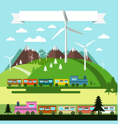 flat design landscape with trains and wind mills vector image vector image