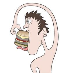 funny boy eating burger vector image